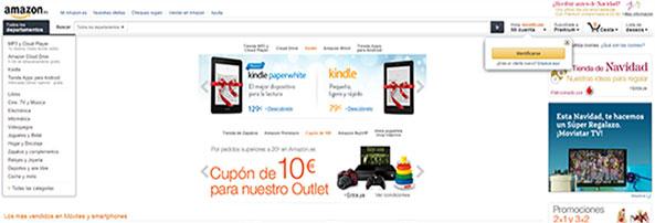 La tienda online de amazon, con diseño Full Width